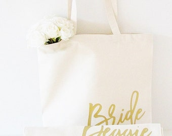 Bride Tote Bag, Custom tote bag for Bridesmaid, maid of honor, mother of the bride, groom, flower girl, wedding planner, photographer