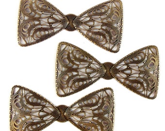 Brass Bow Tie, Bow Tie Stampings, Vintage Jewellery Supplies, Jewelry Making Supplies, Brass Ox, Antique Brass, B'sue, 40 x 76mm, Item07980