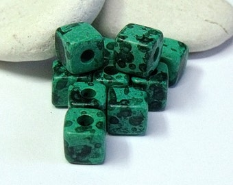 Greek Mykonos, Ceramic Cube Spacer Beads, Malachite.