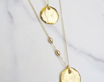 Myconos short or long necklace with gold ceramic pendant