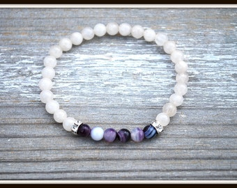 Women's White Jade Bracelet, Purple Agate Bracelet, Purple and White Bracelet, White Jade Stretch Bracelet, Jade Stacking Bracelet