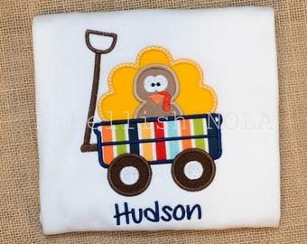 Boy Turkey Wagon Applique Shirt or Bodysuit Thanksgiving Shirt