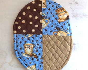 Blue Tan Brown Polka Dot Hot Pad Teacher Gift Hostess Gift  Pollyana Gift Basket FillerTrivet Oval Quilted Coffee Beans Coffee Cups Motif B