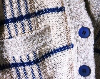 Pendleton Cardigan | Linen + Cotton | Blue + Beige Plaid