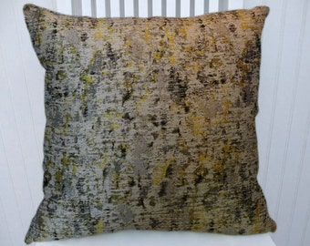 Silver Yellow Black Pillow Cover--Decorative Throw Pillow Cover, Lumbar Pillow Cover,  Accent Pillow Cover, Abstract, Eclectic