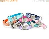 WINTER SALE 15% off Chevron Stripe Personalized Dog Collar with Laser Engraved Buckle