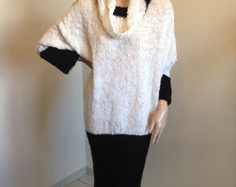 80s Cowl Neck Sweater Dress