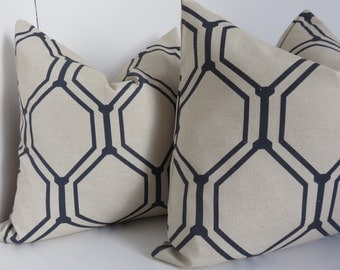 Beige pillow cover, Blue pillow cover, Beige Natural Piillow, Beige Blue Pillow, 18x18 Pillow Cover, Beige Pillow, Blue Pillow