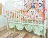 Crib Bedding Baby Bedding in Coral, Mint, Gold, and Navy with Coral Jubilee and Sparkly Gold Tulle Skirt