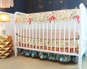 Custom, Baby Bedding in Aqua, Coral, and Gray with Ruffled Skirt, Vintage Floral Bedding