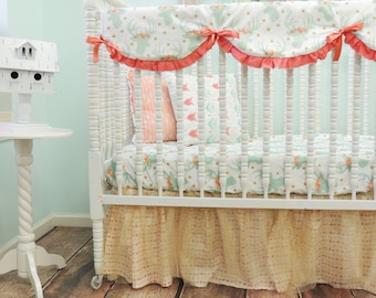 Crib Bedding, Deer Print Crib Bedding, Rustic Glam Crib Bedding in Mint Coral and Gold