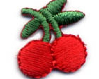 Embroidered Iron-On Applique Cherries, 5/8 x 3/4 inch set of 2
