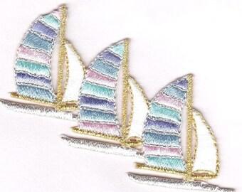 sailboats three iron on applique