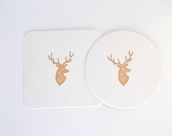 Buck Coasters, Rustic Gift, Hand Stamped Paper Coasters, Woodland Tableware, Deer Decor, Set of Drink Coasters