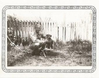 Puppy on a Tree Swing - Vintage Photo - Military Man - Army - Vintage Snapshot - Elko Border Photo - Paper Ephemera