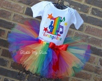 Music Themed Birthday Tutu Outfit-Music Party Outfit-Music Notes Birthday Party Outfit-Rockstar Birthday Tutu Outfit