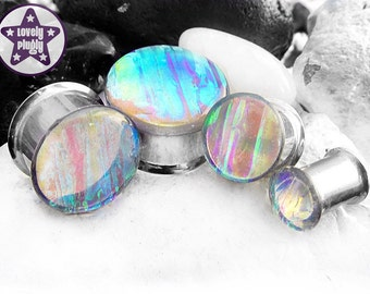 "Dragonfly Wing Pond Dichroic Plug / Gauge Green Blue Purple Clear Faux Dichro Wedding / Prom Translucent 0g, 00g, 7/16"" / 8mm, 10mm, 11mm"