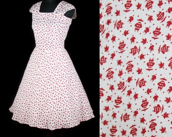 1950s Dress // Oriental Men Novelty Print Cotton Sundress