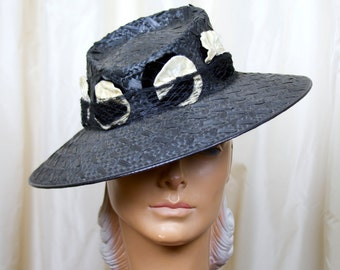 1940s Hat // Black Straw Fedora with Millinery Flowers