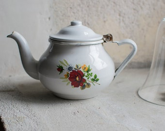 French Enamelware Teapot // Enameled Shabby Chic