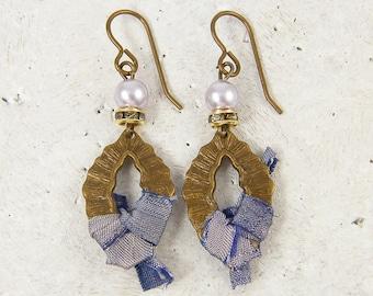 Purple Bead Earrings Pearl Rhinestone Antique Brass Dangle Lavender Silk Ribbon Jewelry for Her