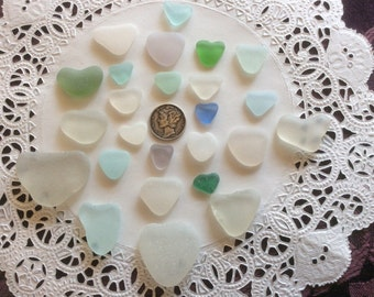 25 Hearts Pink Aqua Blue Genuine Sea Glass H-J7-C