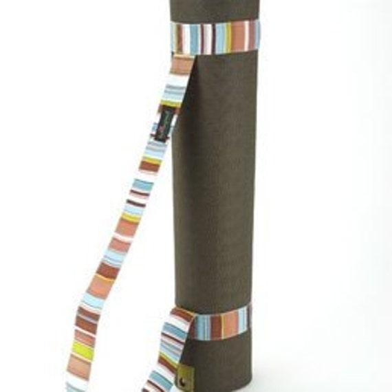 Lotuspad Yoga Mat Carry Strap Brown Retro Stripe By