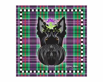 Scottie Pet Portrait Art Print Illustration Wrapped Canvas 12x12x.75 Scottish Terrier