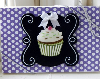 Purple Polka Dot Cupcake Gift Card Holder
