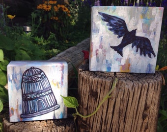 "Birdcage and Free Bird companion paintings, hand painted, originial artwork, includes two 4""x4"" paintings"