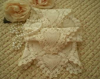 Vintage Shabby Chic Set Of 4 Matching Chair Doilies Home Decor Display Crafts From SincerelyRaven On Etsy