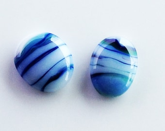 2 Blue Green White Fused Glass Cabochons