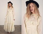 Vintage 70s Victorian Dress Beige Lace Ruffle Maxi Dress