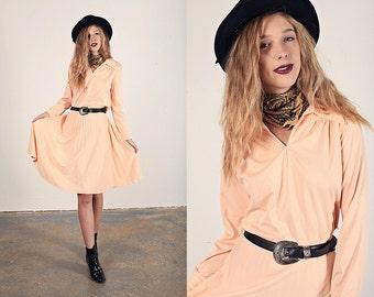 70s Peach Dress Vintage Collar Pleated Skirt Jersey Shirt Dress