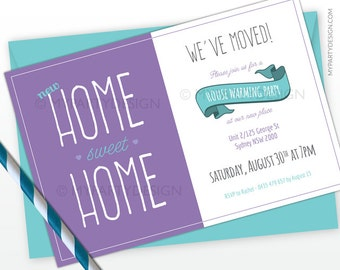 House Warming Party Invitation - Purple and Turquoise - New house - PRINTABLE JPEG or PDF file
