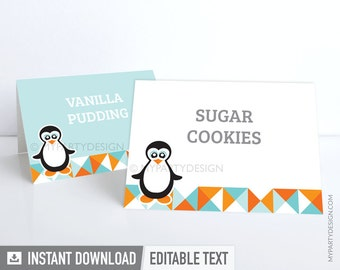 Penguin Party - Food Labels - Placecards - INSTANT DOWNLOAD - Printable PDF with Editable Text