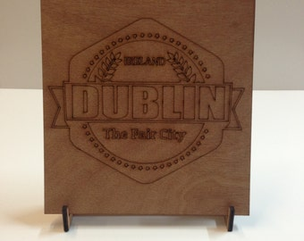 Wooden Plywood Dublin Sign Shape w/ Stand