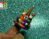 Unicorn Rainbow Voodoo Poop. Hand Sculpted Polymer Clay Figurine.