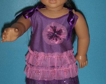 Cute Pink and Purple Ruffle Dress