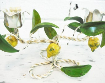 Vintage lemon and leaves Italian tole ware candle holder white green yellow shabby cottage