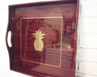 Brass pineapple tray wood and inlay regency large vintage