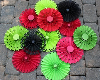 Watermelon Party Decor/ Red Green and Black Rosettes/ Paper Rosettes