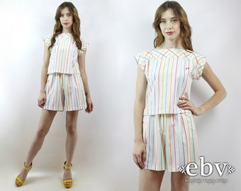 Matching Set Two Piece Set Two Piece Outfit Cropped Top High Waist Shorts Vintage 90s Candy Striped Crop Top + High Waisted Shorts XS S