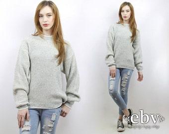 Oversized Knit Oversized Jumper Grey Sweater Normcore Sweater Minimalist Sweater Men's Sweater Vintage 90s Grey Oversized Sweater S M