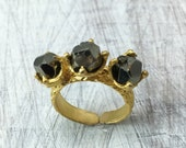 Triplet Pyrite Ring (stacking ring, gold ring, crystal ring, gift for her, statement ring)