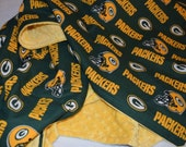 NFL Cotton Broadcloth Green Bay Packers Green/Yellow on Sunshine Minky Dot Blanket- Baby, Toddler, Child or Adult Size