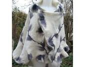 Felt Cape,Felt Shawl,European Wrap Cape,Woman Cape,Large Shawl,White Wool Felt Cape,Wrap FeltCape,AU Wool Felt Cape,Nuno Felt Cape,Handmade