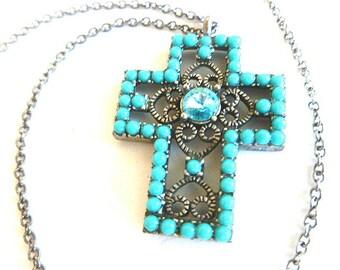 TURQUOISE OPENWORK Cross, Rhinestone & Turquoise Cross, Vintage Silver Cross, Vintage Turquoise Cross, Cross Pendant with Neck Chain