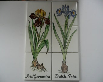 Iris Ceramic Tile Murals  - handpainted tiles