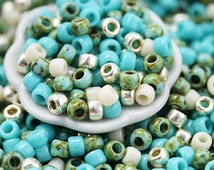 10g Toho Seed Beads Mix - Turquoise Wave - MayaHoney Special Mix, 8/0 size, blue, silver rocailles - S1018